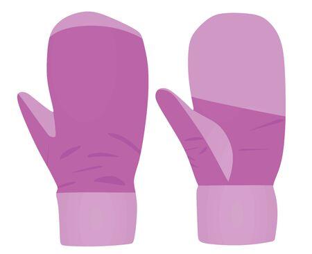 Purple winter gloves. vector illustration Imagens - 132227912