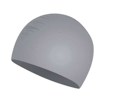 Grey swim hat. vector illustration