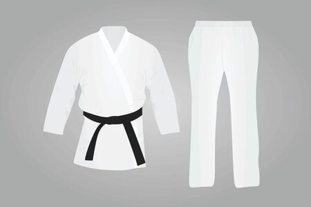White karate suit. Martial uniform. vector illustration