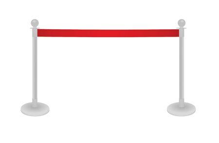 Red tape barrier fence. vector illustration Ilustração Vetorial