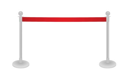 Red tape barrier fence. vector illustration