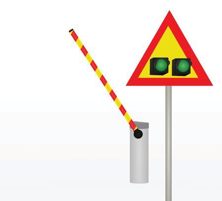 Barrier with traffic light. vector illustration