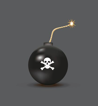 Black retro bomb with skull. vector illustration Stok Fotoğraf - 132228258