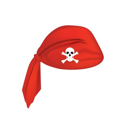 Red pirate head scarf, vector