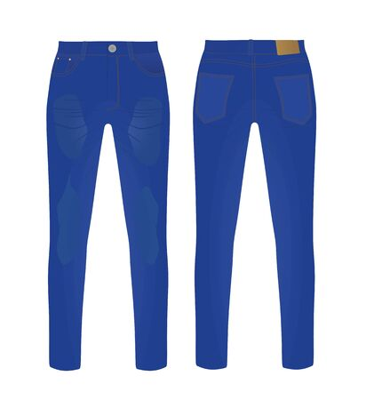 Blue denim pants. vector illustration