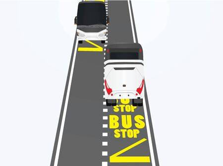 Bus stop on road. vector illustration