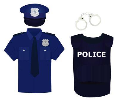 Policeman uniform and handcuffs. vector Stok Fotoğraf - 132024850