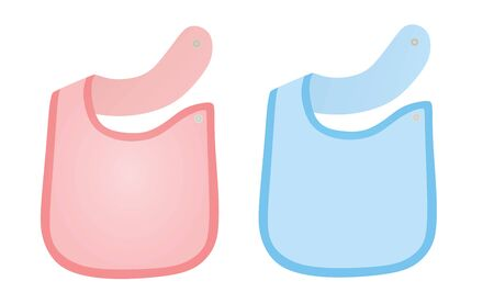 Pink and blue baby apron set. vector illustration
