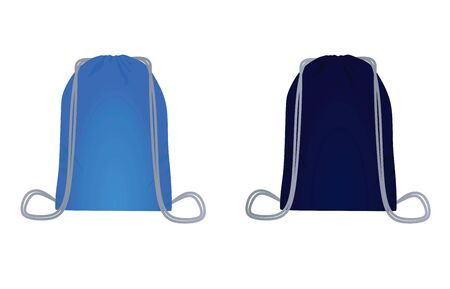 Blue backpack bag set. vector illustration