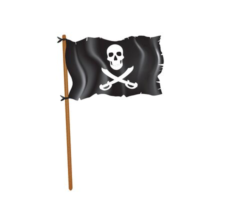 Black torn pirate flag. vector illustration Banco de Imagens - 132228185