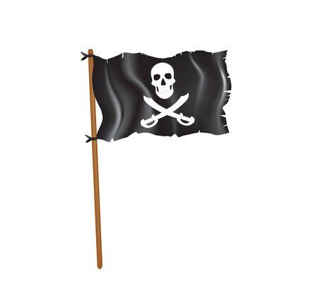 Black torn pirate flag. vector illustration