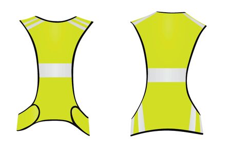 Yellow running reflective vest. vector illustration