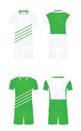 White and green soccer shirt and shorts. vector illustration