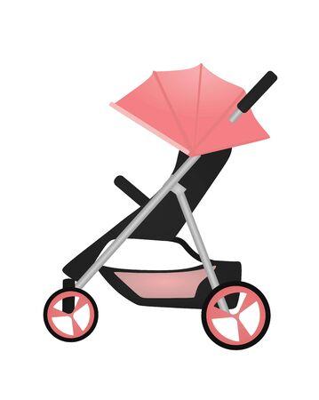 Pink baby stroller. vector illustration