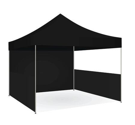Tente promotionnelle noire. illustration vectorielle