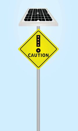 Traffic sign caution with solar panel and flashing
