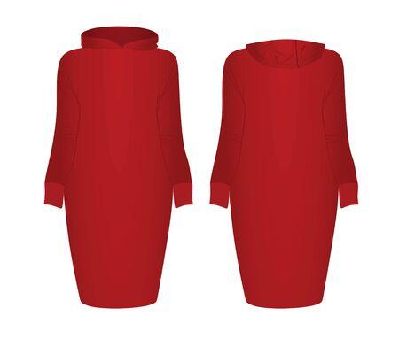 Red hoodie dress. vector illustration