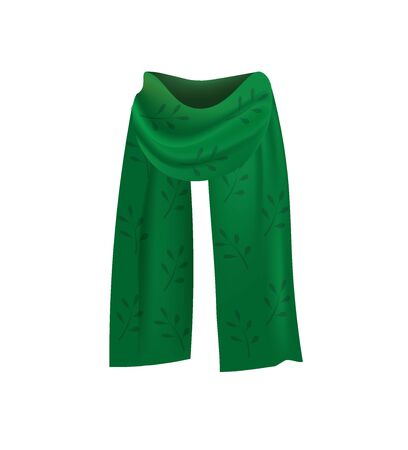 Green scarf with pattern, vector 向量圖像