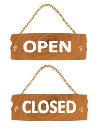 Open and closed wooden sign. vector Illusztráció