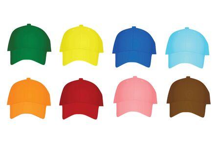 Colorful set of baseball caps. vector illustration