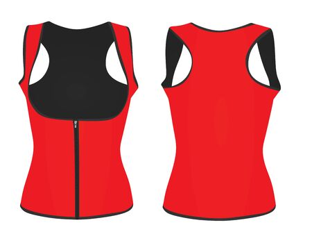 Women red corset vest. vector illustration Illustration