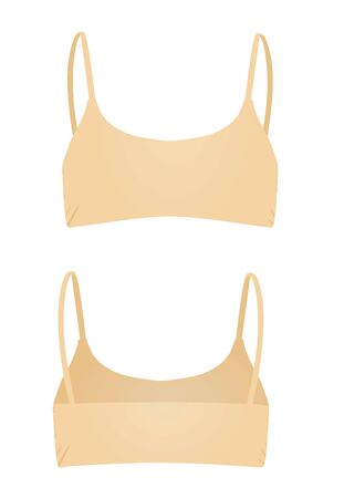 Beige women top. back and front view. vector illustration