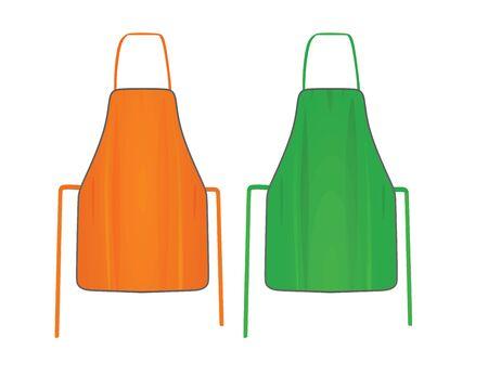 Orange and green kitchen apron. vector illustration
