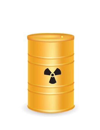 Yellow waste barrel. vector illustration