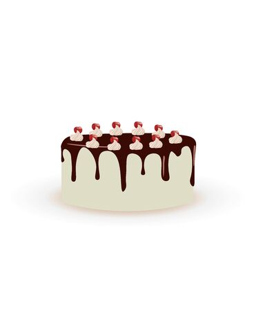 White cake with melting chocolate, vector Imagens - 132084829