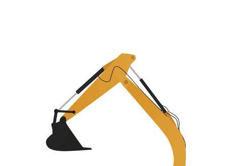 Brazo de excavadora amarillo. bajo concepto de construcción. ilustración vectorial. Ilustración de vector