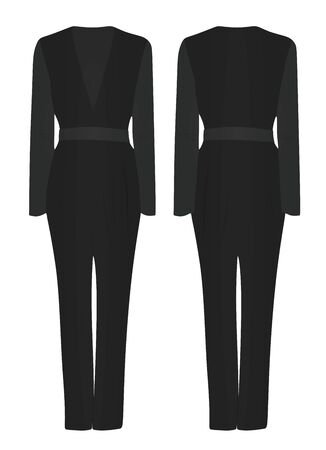 Black woman jumpsuit. vector illustration