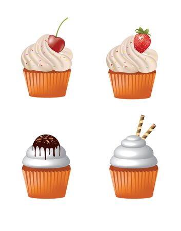 Cupcakes set. vector illustration