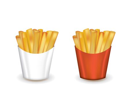 French fries in box, vector