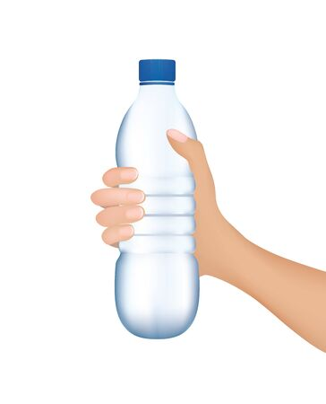 Hand holding a water bottle, vector