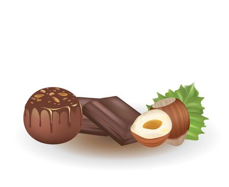 Chocolate candy ball with hazelnuts. vector illustration