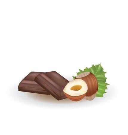 Chocolate and hazelnuts. vector illustration