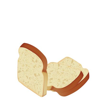 Bread slices on white background, vector