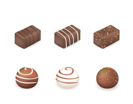 Chocolate cubes and balls. vector illustration