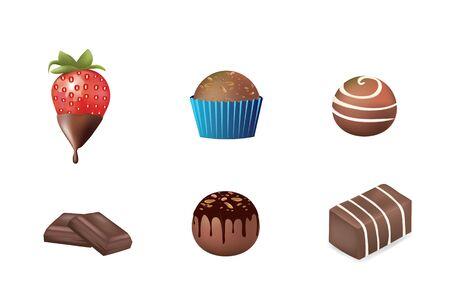 Chocolate desert set. vector illustration  イラスト・ベクター素材