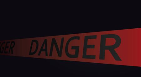 Danger tape in dark background. vector illustration
