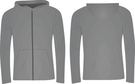 Grey hooded sweater. vector illustration