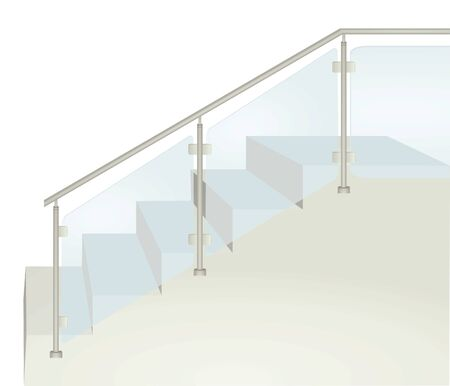 Glass fence on stairs. vector