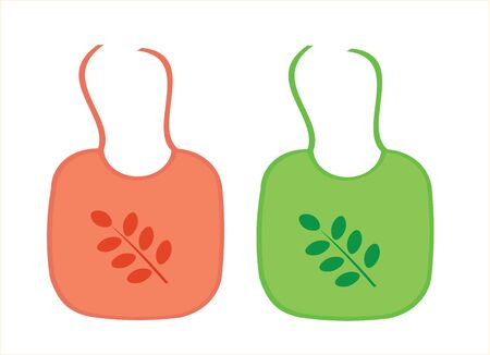 Two baby aprons with leaf decoration, vector