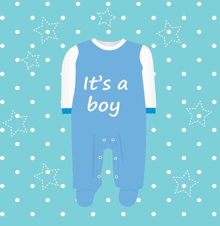 Baby boy shower card, vector