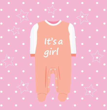 Baby girl shower card, vector Ilustração