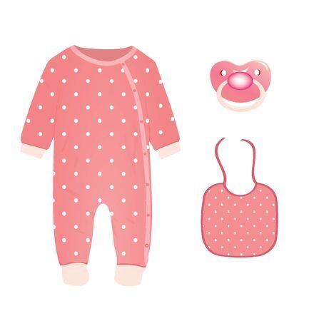 Baby girl set. vector illustration