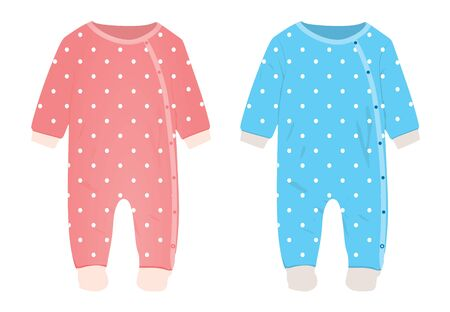 Pink and blue baby romper. vector illustration