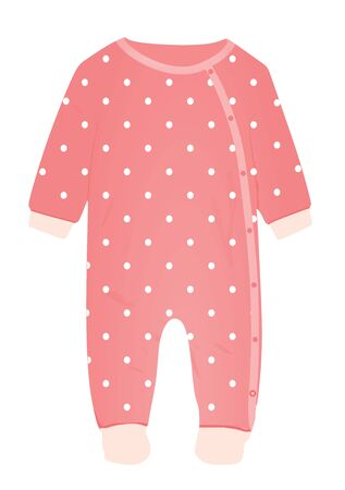 Pink baby romper. vector illustration