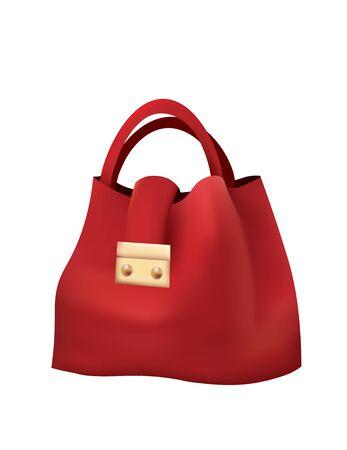 Red hand bag. vector illustration