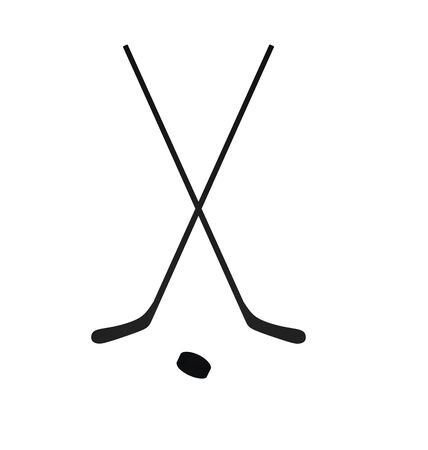 Hockey sticks and puck. vector